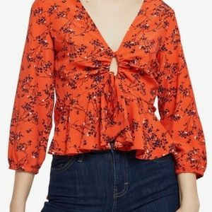 Topshop Floral Print Keyhole Betty Top NWT